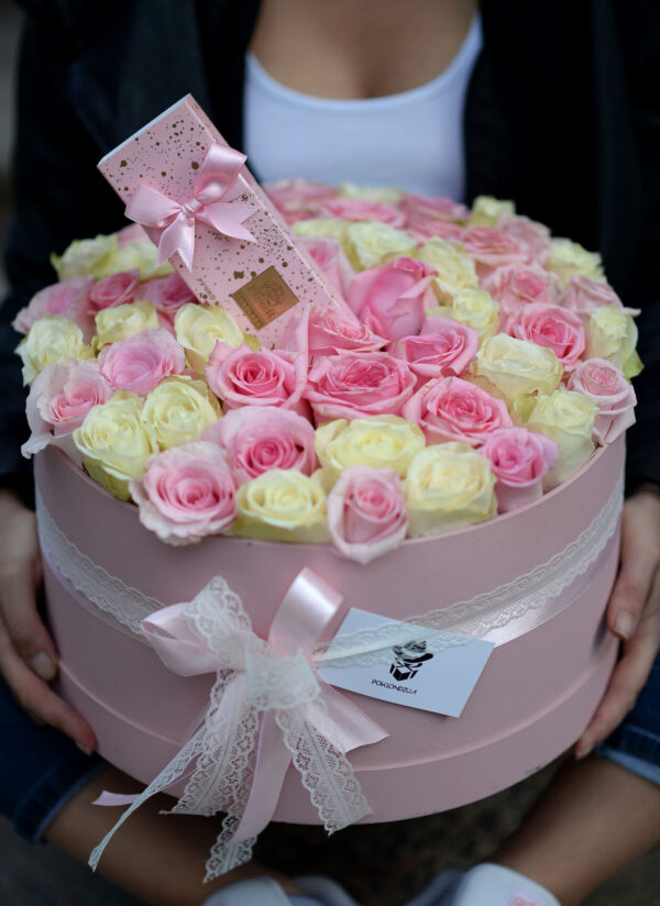 101 ruža sa handmade čokoladom