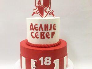 torta za navijača zvezde - za 18 rodjendan na 2 sprata - dostava torti beograd